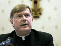 Bishop-elect of the Diocese of Worcester, Mass., Robert J. McManus speaks at a news conference at the Chancery in Worcester, Tuesday, March 9, 2004. McManus, who is currently auxiliary Bishop of Providence, R.I., will be installed as Bishop of Worcester during a ceremony on May 14. (AP Photo/Michael Dwyer)