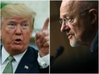 Collage of Trump pointing and Clapper staring