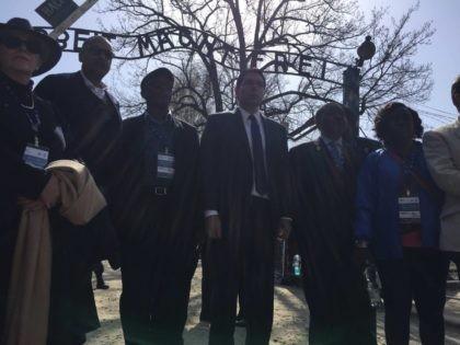 Danny Danon and ambassadors at Auschwitz (Joel Pollak / Breitbart News)