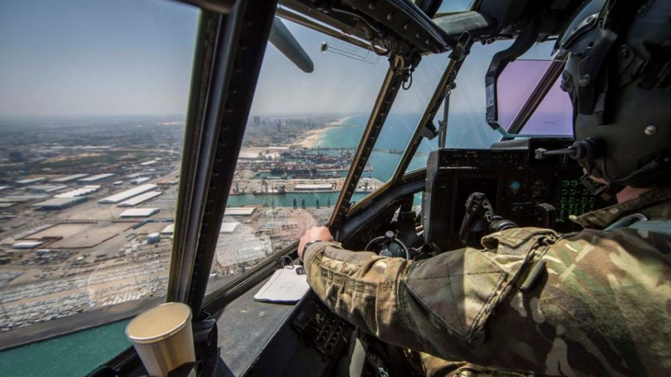 The Israeli coast viewed from the RAF C130 plane which took part in the flyover (@UKinIsrael on Twitter)