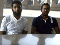 Rashon Nelson, left, and Donte Robinson, right, both 23, sit in their attorney's conference room as they pose for a portrait following an interview with the Associated Press Wednesday April 18, 2018 in Philadelphia. Their arrests at a local Starbucks quickly became a viral video and galvanized people around the …