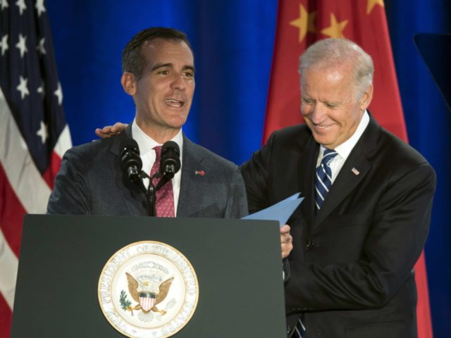 Eric Garcetti and Joe Biden (Kelvin Kuo / Associated Press)