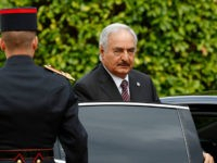 General Khalifa Haftar, commander in the Libyan National Army (LNA), arrives to attend a meeting for talks over a political deal to help end Libyas crisis in La Celle-Saint-Cloud near Paris, France, July 25, 2017. / AFP PHOTO / POOL / PHILIPPE WOJAZER (Photo credit should read PHILIPPE WOJAZER/AFP/Getty Images)
