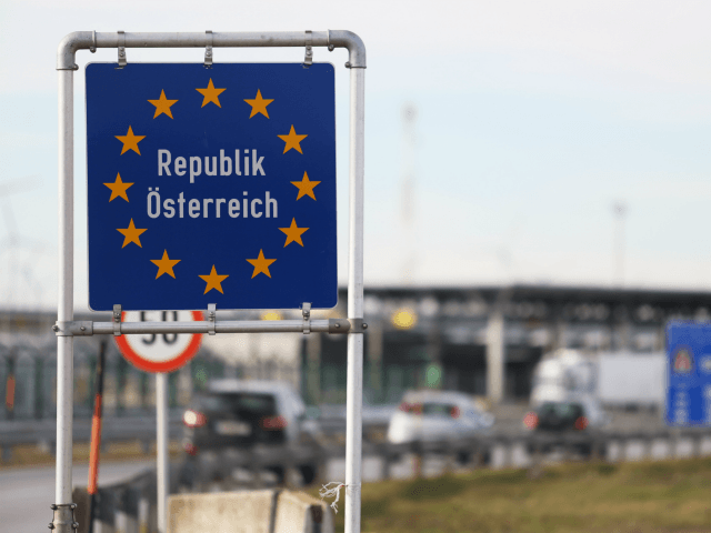 NICKELSDORF, AUSTRIA - NOVEMBER 30: A sign marking the Austrian border on November 30, 2016 in Nickelsdorf, Austria. Polls indicate that right-wing populist presidential candidate Norbert Hofer has a strong chance of winning presidential elections scheduled for December 4. Hofer has in his campaign rhetoric warned of criminal immigrants and …