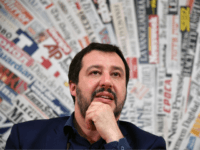 Leader of the far-right League (Lega Nord) party, Matteo Salvini attends a meeting with the foreign press on March 14, 2018 in Rome. Anti-establishment party M5S leader on March 13 called on Italy's other political parties to listen to what he called a 'signal' from voters and help him break …