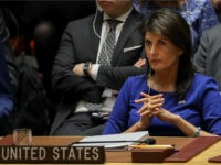 United States Ambassador to the United Nations Nikki Haley listens during a United Nations Security Council emergency meeting concerning the situation in Syria, at United Nations headquarters, April 14, 2018 in New York City. Yesterday the United States and European allies Britain and France launched airstrikes in Syria as punishment for Syrian President Bashar al-Assad's suspected role in last week's chemical weapons attacks that killed upwards of 40 people. (Photo by Drew Angerer/Getty Images)