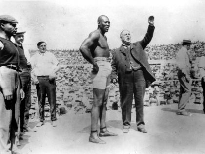 Boxing champion Jack Johnson is shown on July 4, 1910, before his successful title defense against ''The Great White Hope'' James J. Jeffries in Reno, Nev. (Photo by Sporting News/Sporting News via Getty Images)
