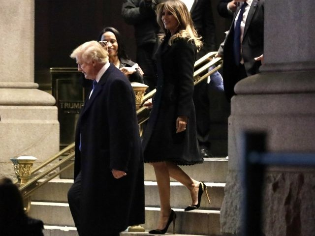 President Donald Trump and First Lady Melania Trump leave after dinner at Trump nternational Hotel on April 7, 2018 in Washington, D.C. (Photo by Yuri Gripas-Pool/Getty Images)