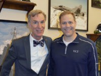 "In this photo dated February, 2017 and provided by the Office of Congressman Jim Bridenstine, Bill Nye, left, and Jim Bridenstine, right, pose for a photo. Bridenstine, President Donald Trump's pick to head NASA, says he plans to invite Bill Nye ""The Science Guy"" to be his guest of honor …"
