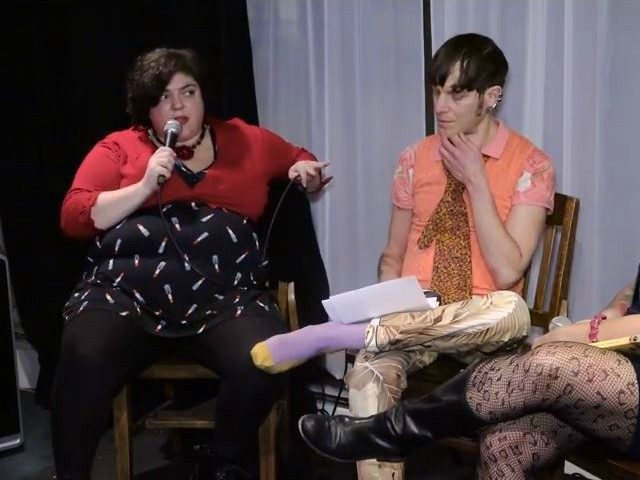 Fresno State professor Randa Jarrar appearing on a panel