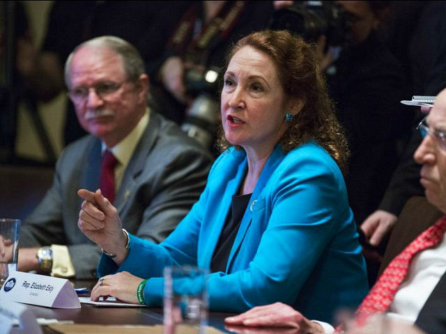 Representative Elizabeth Esty, a Democrat from Connecticut, speaks during a meeting with U.S. President Donald Trump, not pictured, and bipartisan members of Congress to discuss school and community safety in the Cabinet Room of the White House in Washington, D.C., U.S. on Wednesday, Feb. 28, 2018. Trump has vowed to pass new laws designed to curb campus gun violence following the Feb. 14 shooting at a Parkland, Florida high school in which 17 people were killed and more than a dozen more wounded. Photographer: Joshua Roberts/Bloomberg via Getty Images