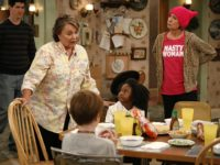Roseanne Barr, Michael Fishman, Laurie Metcalf, Jayden Rey, and Ames McNamara in Roseanne (ABC, 2018)