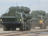 MOSCOW REGION, RUSSIA - APRIL 5, 2017: S-300 long range surface-to-air missile systems seen at Alabino Range during a rehearsal for the upcoming 9 May military parade marking the 72nd anniversary of the victory over Nazi Germany in World War II. Valery Sharifulin/TASS (Photo by Valery Sharifulin\TASS via Getty Images)