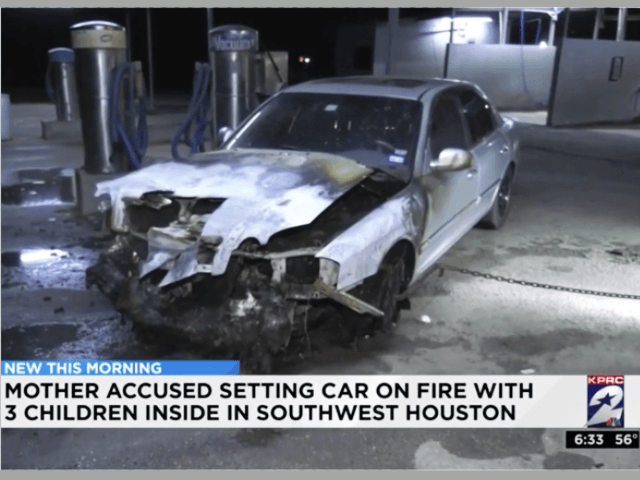 Mother accused of setting auto on fire with three kids inside