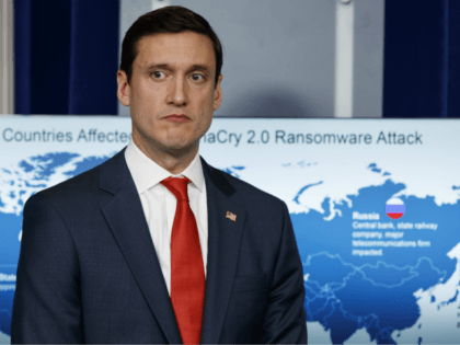 White House Homeland Security Adviser Tom Bossert listens during a briefing blaming North Korea for a ransomware attack that infected hundreds of thousands of computers worldwide in May and crippled parts of Britain's National Health Service, at the White House, Tuesday, Dec. 19, 2017, in Washington. (AP Photo/Evan Vucci)