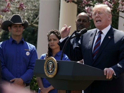 U.S. President Donald Trump speaks during a Rose Garden event April 12, 2018 at the White House in Washington, DC. President Trump gave remarks on tax cuts for American workers. (Photo by Alex Wong/Getty Images)