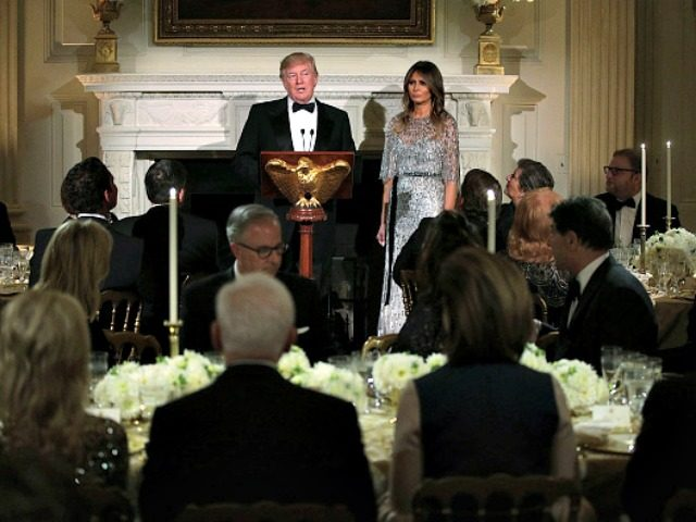 Trumps Host State Dinner, Share Podium