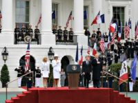 President Trump Welcomes French President with Military, Cannon Fire