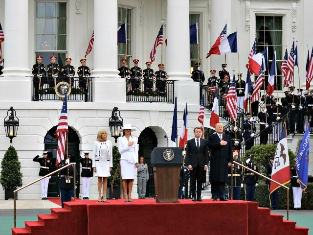 President Trump and First Lady Welcome Emmanuel and Brigitte Macron with Military and Cannon Fire on First State Visit
