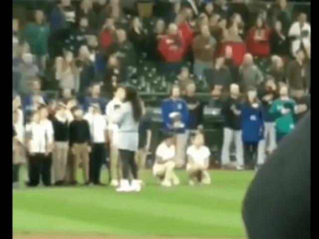 Elementary Kids Kneel While Singing National Anthem At Mariners Game