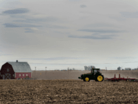 A farmer plows his fields in the small northeastern agricultural town of Eaton, Colorado, on February 10, 2017. With a population of just over 5,000 residents, 71% of the town's registered voters cast their ballots in support of President Donald Trump during the 2016 US presidential election. / AFP PHOTO …