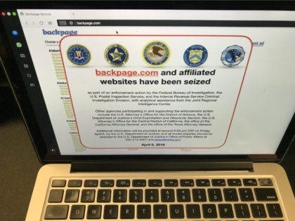 A screen shot of the website Backpage.com is seen Los Angeles Friday, April 6, 2018. Federal law enforcement authorities are in the process of seizing Backpage.com and its affiliated websites. A notice that appeared Friday afternoon at Backpage.com says the websites are being seized as part of an enforcement action …