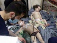 A video image provided by the Syrian Civil Defense, an aid group, of toddlers after a suspected chemical attack in the rebel-held Syrian suburb of Douma on Sunday. Credit Syrian Civil Defense White Helmets, via Associated Press
