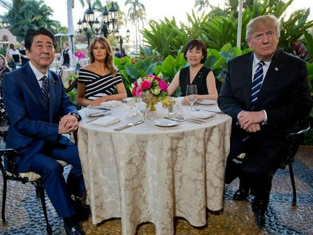 President Donald Trump, first lady Melania Trump, sit with Japanese Prime Minister Shinzo Abe and his wife Akie Abe for dinner Trump's private Mar-a-Lago club, Tuesday, April 17, 2018, in Palm Beach, Fla. (AP Photo/Pablo Martinez Monsivais)