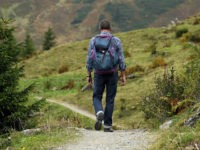 man on hiking path