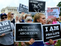 WASHINGTON, DC - JULY 28: Anti-abortion activists hold a rally opposing federal funding for Planned Parenthood in front of the U.S. Capitol on July 28, 2015 in Washington, DC. Sen. Rand Paul (R-KY) announced a Senate deal to vote on legislation to defund Planned Parenthood before the Senate goes into …