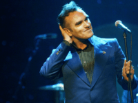 Singer Morrissey performs April 23, 2004 at the Wiltern LG in Los Angeles, California. The former Smiths frontman sold out five consecutive nights in Los Angeles.