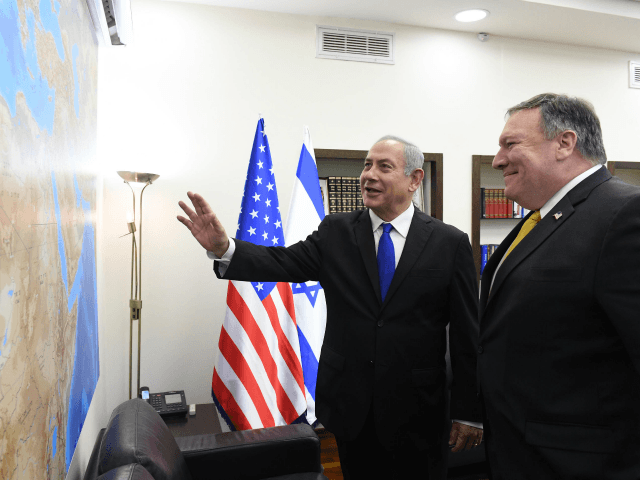 In this GPO handout, US Secretary of State Mike Pompeo (R) meets Israel's Prime Minister Benjamin Netanyahu April 29, 2018 in Tel Aviv, Israel. (Photo by Haim Zach / GPO via Getty Images)
