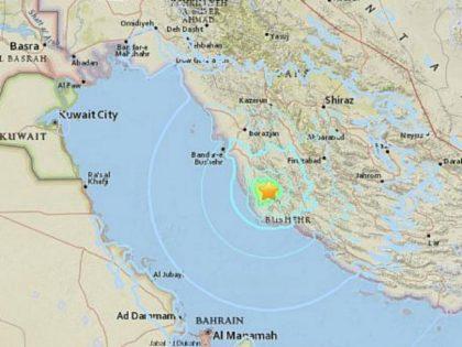 Site of earthquake near Bushehr, Iran on April 19, 2018. (Screen capture: USGS National Earthquake Information Center)