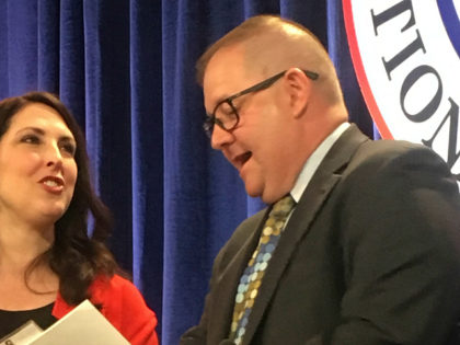 Republican National Committee Chairwoman Ronna Romney McDaniel, left, speaks with Bob Paduchik, party co-chairman of the Republican National Committee, at the spring meeting in Coronado, Calif., Friday, May 12, 2017. While Trump's abrupt firing of FBI Director James Comey roiled Washington, Republicans who attended the national committee's spring meeting outside …