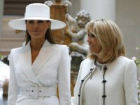 WASHINGTON, DC - April 24: First Lady Melania Trump and French first lady Brigitte Macron tour the National Gallery of Art on April 24, 2018 in Washington, DC. President Donald Trump is hosting French President Emmanuel Macron for the first state visit of his presidency. (Photo by Aaron P. Bernstein/Getty …