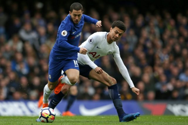 Chelsea's Eden Hazard vies with Tottenham midfielder Dele Alli on Sunday