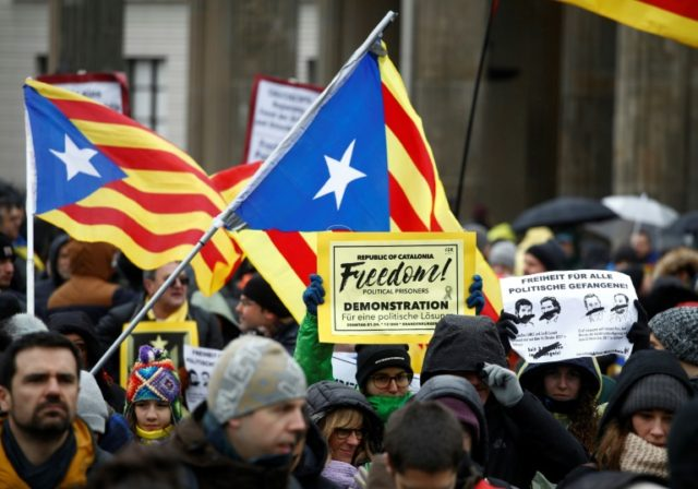Protesters rallied to the call in Berlin at a demonstration organised by the pro-Catalan independence association ANC (National Assembly of Catalonia)