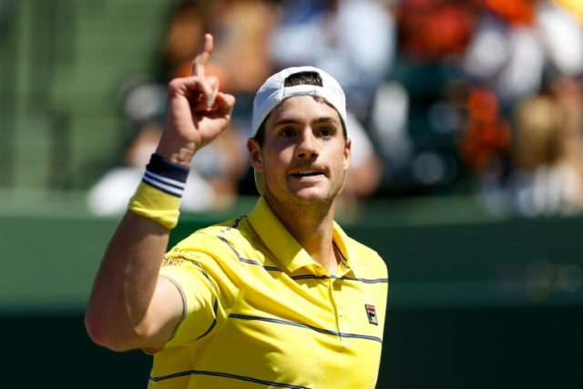 John Isner of the United States reacts during the men's final of the Miami Open against Alexander Zverev of Germany on April 1, 2018 in Key Biscayne, Florida