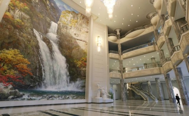 The ornate lobby of the 1,500-seat East Pyongyang Grand Theatre in Pyongyang