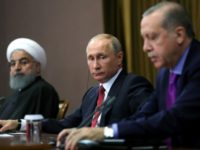 Russian President Vladimir Putin, Turkish President Recep Tayyip Erdogan and Iranian President Hassan Rouhani held their first trilateral meeting on Syria in Sochi last November