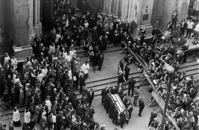 Robert F. Kennedy's coffin is carried out of Saint Patrick's Cathedral in New York