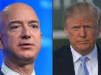 This combination of pictures shows Amazon founder Jeff Bezos (L), who also owns The Washington Post, and US President Donald Trump