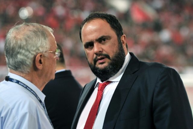 Olympiakos president Evangelos Marinakis, pictured in 2013, was angry at a 1-1 draw by the team, so he ordered under-performing players to go on holiday