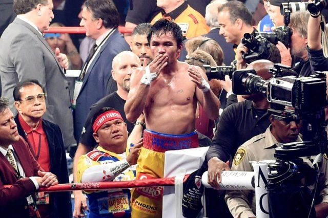 Manny Pacquiao, shown here in 2015, will fight against Argentina's World Boxing Association welterweight champion Lucas Matthysse in Kuala Lumpur in July