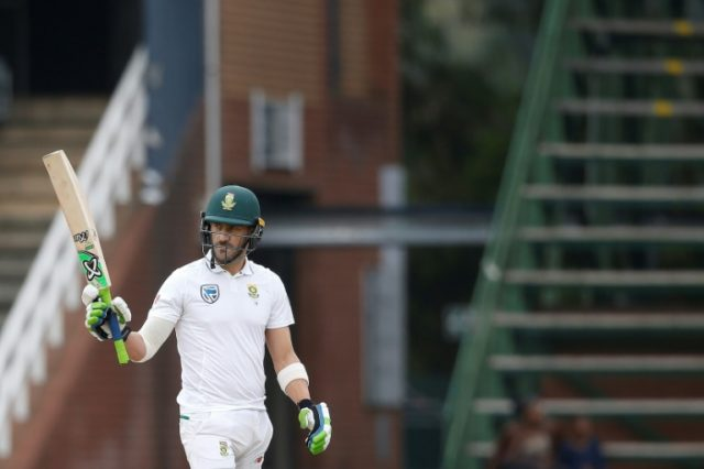 South Africa captain Faf du Plessis celebrates scoring a half century on the fourth day of the fourth Test against Australia at Wanderers cricket ground in Johannesburg on April 2, 2018