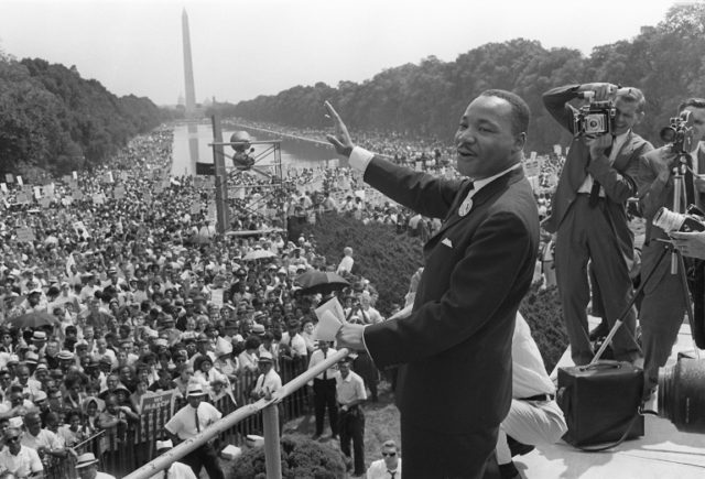 "US civil rights leader Martin Luther King Jr. at the ""March on Washington"" in August 1963 where he delivered his celebrated ""I Have a Dream"" speech"