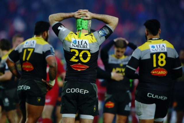 La Rochelle players pictured after the final whistle at the European Champions Cup quarter final against Scarlets at Parc y Scarlets in Llanelli, south west Wales, on March 30, 2018
