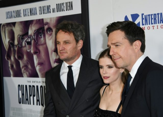 """Actors (L-R) Jason Clarke, Kate Mara and Ed Helms arrive on the red carpet for the premiere of """"Chappaquiddick"""" in Beverly Hills, California"""