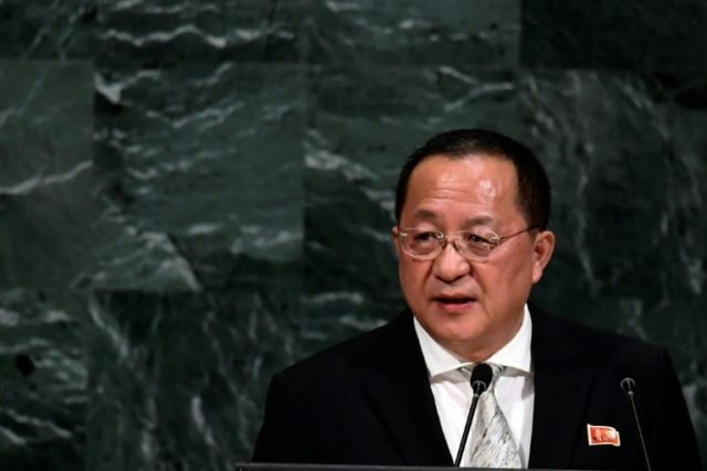Ri Yong Ho addresses the UN General Assembly last September: he is currently visiting Beijing as part of a diplomatic flurry