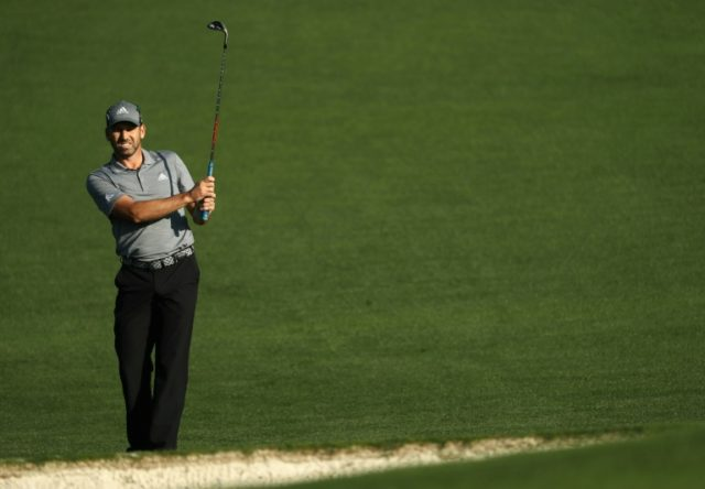 Sergio Garcia of Spain plays a shot during a practice round prior to the start of the 2018 Masters Tournament at Augusta National Golf Club on April 3, 2018